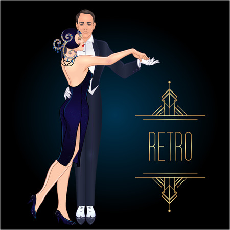 Illustration pour Beautiful couple in art deco style dancing tango. Retro fashion: glamour man and woman of twenties. Vector illustration. Flapper 20's style. Vintage party or thematic wedding invitation template.  - image libre de droit