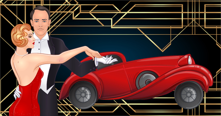 Ilustración de Beautiful couple in art deco style dancing tango. Retro fashion: glamour man and woman of twenties and red car. Vector illustration. Roaring Twenties. Classic automobile, luxury vintage concept. - Imagen libre de derechos