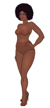 Illustrazione per Curvy african american girl in underwear isolated on white. - Immagini Royalty Free