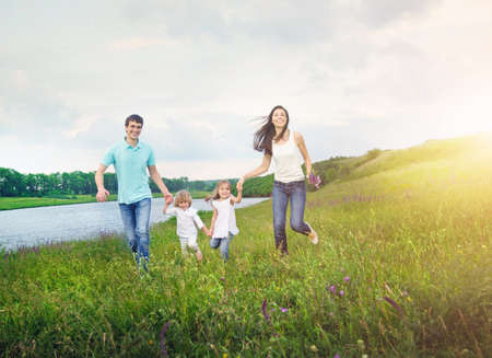 Photo for family enjoy picnic outdoors - Royalty Free Image