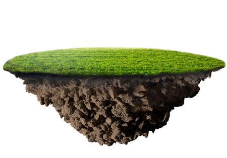 Photo pour green grass island on white background - image libre de droit