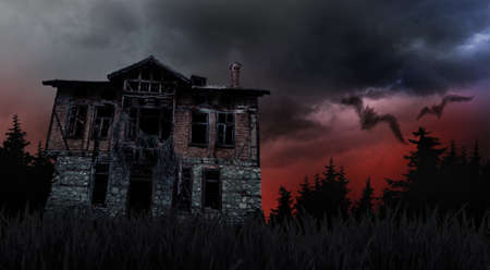 Photo pour bad weather and creepy haunted old house - image libre de droit