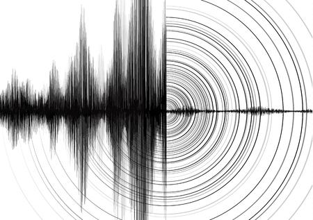 Ilustración de Power of Earthquake Wave with Circle Vibration on White paper background - Imagen libre de derechos