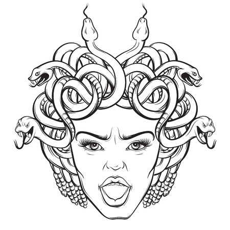 Illustration for Vector illustration of angry gorgon with snakes and open mouth in hand drawn cartoon realistic style. Artwork hand sketched. Template for postcard, banner, poster, placard, print for t-shirt. - Royalty Free Image