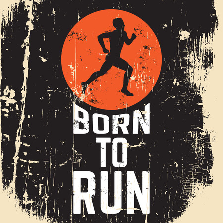 Ilustración de Born to run. Quote typographical background about running with illustration of runner. Silhouette of running man. Template for postcard banner print for t-shirt - Imagen libre de derechos