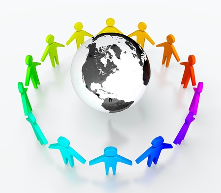 Photo for People in circle surrounding the Earth. Symbol of global communication. - Royalty Free Image