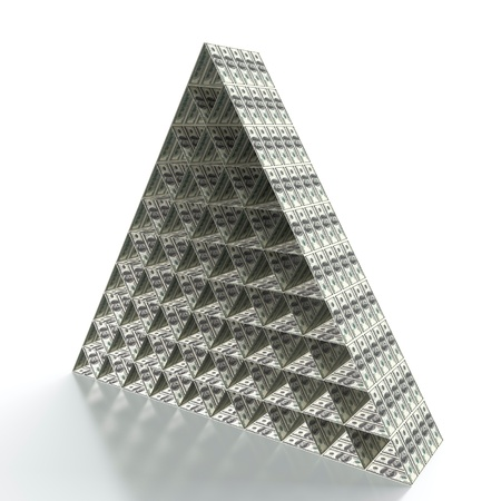 3D render of financial pyramid on white background