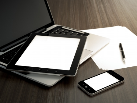3D illustration of office table with electronic devices and blank sheet of paper