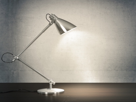Photo for 3D image of metal desk lamp on wooden desk next to the concrete wall  - Royalty Free Image