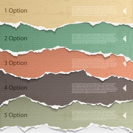 Illustration pour Design elements - multi colored torn paper. - image libre de droit