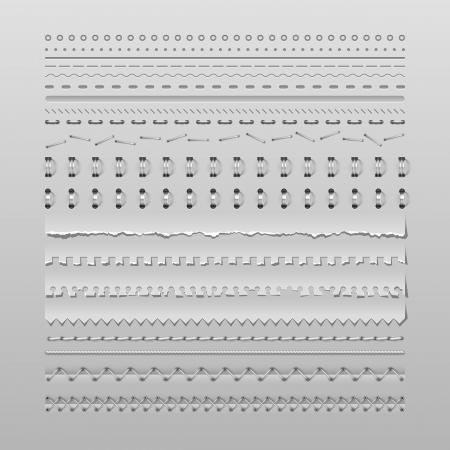 Illustration pour Design elements vector set of high detailed stitches and dividers - image libre de droit