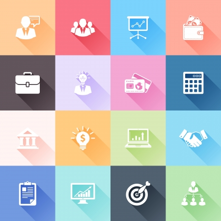 Foto de Vector set of 16 flat business icons with long shadow - Imagen libre de derechos