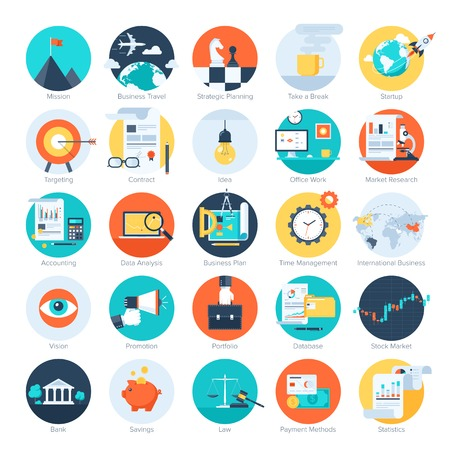 Illustration pour Vector collection of colorful flat business and finance icons. Design elements for mobile and web applications. - image libre de droit