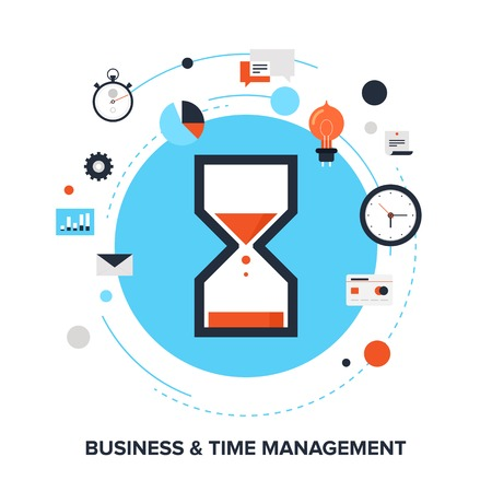 Illustration pour illustration of business and time management flat design concept. - image libre de droit