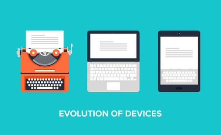 Illustration pour Flat illustration of evolution of devices from typewriter to laptop and tablet. - image libre de droit