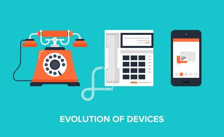 Illustration pour Flat illustration of evolution of communication devices from classic phone to modern mobile phone. - image libre de droit