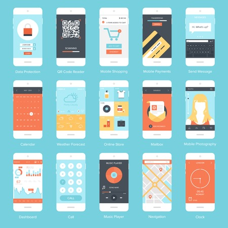 Illustration pour Flat vector collection of modern mobile phones with different user interface elements. - image libre de droit