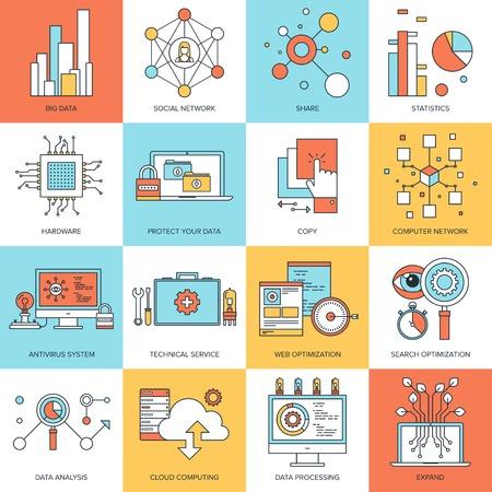 Illustration pour Vector set of flat line concepts on technology theme . Design elements for web and mobile applications. - image libre de droit
