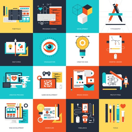 Illustration pour Abstract flat vector illustration of design and development concepts. Elements for mobile and web applications. - image libre de droit