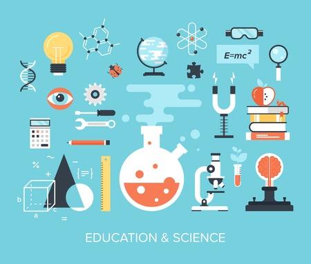 Ilustración de Abstract flat vector illustration of science and technology concepts. Design elements for mobile and web applications. - Imagen libre de derechos