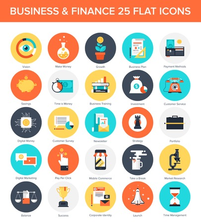 Illustration pour Abstract vector collection of colorful flat business and finance icons. Design elements for mobile and web applications. - image libre de droit