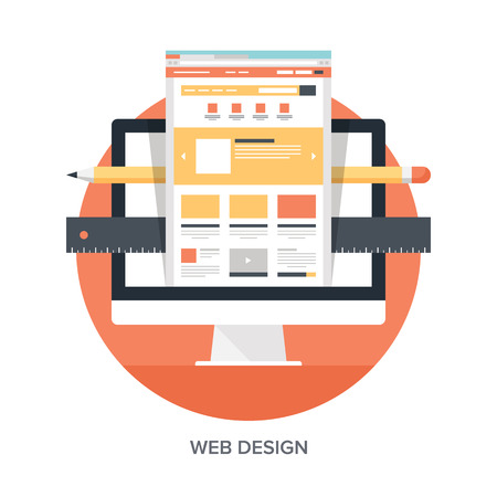 Illustrazione per Abstract flat vector illustration of web design and development concepts. Elements for mobile and web applications. - Immagini Royalty Free