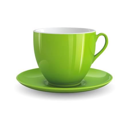 Ilustración de High detailed vector illustration of green cup isolated on white background - Imagen libre de derechos