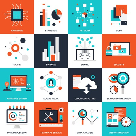 Photo pour Abstract flat vector illustration of technology concepts. Elements for mobile and web applications. - image libre de droit
