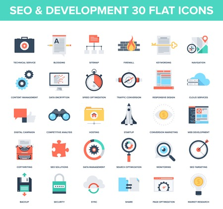 Ilustración de Abstract vector set of colorful flat SEO and development icons. Creative concepts and design elements for mobile and web applications. - Imagen libre de derechos