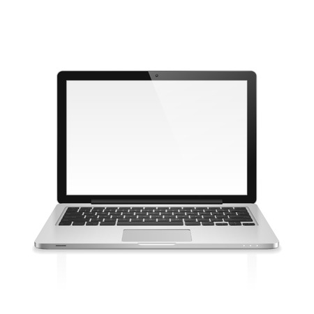 Illustration pour High detailed realistic vector illustration of modern laptop with blank screen on white background. - image libre de droit