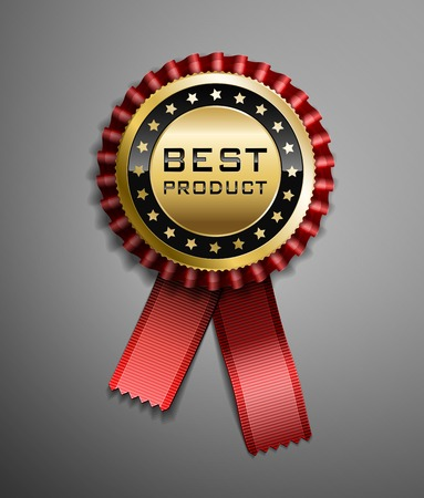 Illustration for High detailed vector award ribbon isolated on dark gray background. - Royalty Free Image