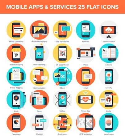 Illustration pour Mobile Applications icons - image libre de droit