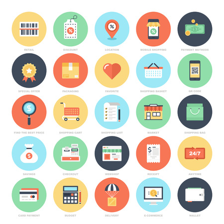 Ilustración de Shopping and Commerce icons - Imagen libre de derechos