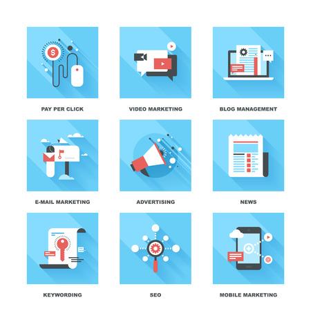 Ilustración de Vector set of flat digital marketing icons. Icon pack includes following themes - pay per click, video marketing, blog management, email marketing, promotion, news, keywording, SEO, mobile marketing - Imagen libre de derechos