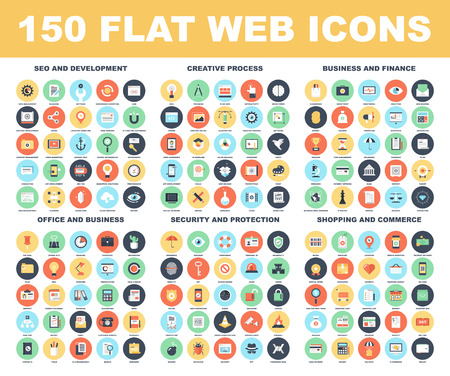 Illustration pour Vector set of 150 flat web icons on following themes - SEO and development, creative process, business and finance, office and business, security and protection, shopping and commerce. - image libre de droit