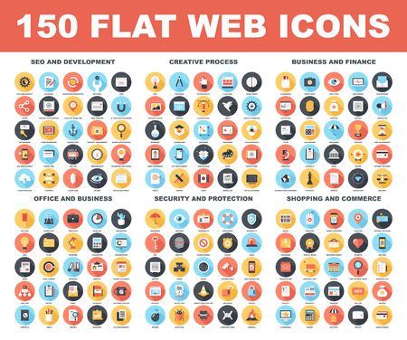 Illustration pour Vector set of 150 flat web icons with long shadow on following themes - SEO and development, creative process, business and finance, office and business, security and protection, shopping and commerce - image libre de droit