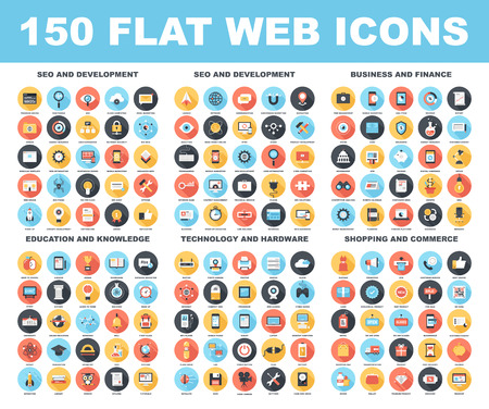Illustration for Vector set of 150 flat web icons with long shadow on following themes - SEO and development, business and finance, education and knowledge, technology and hardware, shopping and commerce. - Royalty Free Image