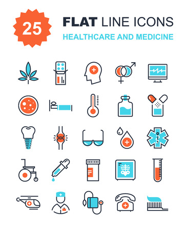 Foto de Abstract vector collection of flat line healthcare and medicine icons. Elements for mobile and web applications. - Imagen libre de derechos