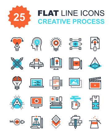Ilustración de Abstract vector collection of flat line creative process icons. Elements for mobile and web applications. - Imagen libre de derechos