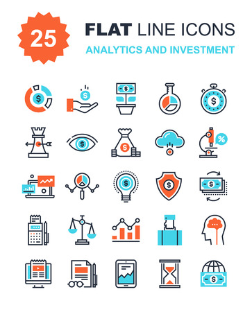 Ilustración de Abstract vector collection of flat line analytics and investment icons. Elements for mobile and web applications. - Imagen libre de derechos