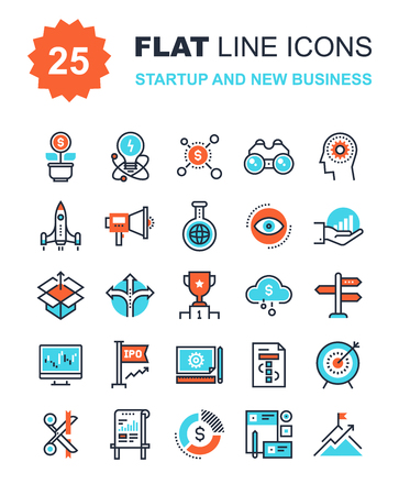 Ilustración de Abstract vector collection of flat line startup and new business icons. Elements for mobile and web applications. - Imagen libre de derechos