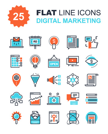 Ilustración de Abstract vector collection of flat line digital marketing icons. Elements for mobile and web applications. - Imagen libre de derechos