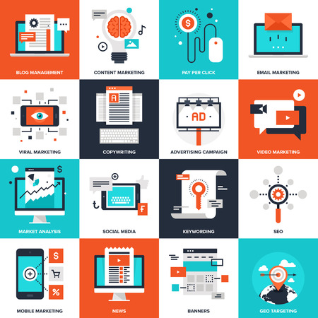 Illustration pour Abstract vector collection of flat digital marketing icons. Elements for mobile and web applications. - image libre de droit