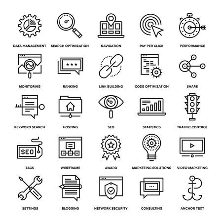 Ilustración de Abstract vector collection of line SEO and web optimization icons. Elements for mobile and web applications. - Imagen libre de derechos
