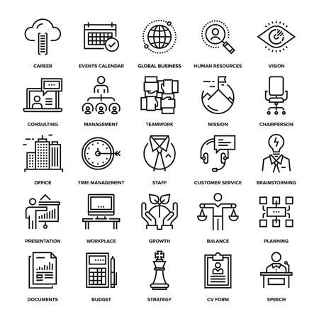 Illustration pour Abstract vector collection of line corporate business icons. Elements for mobile and web applications. - image libre de droit