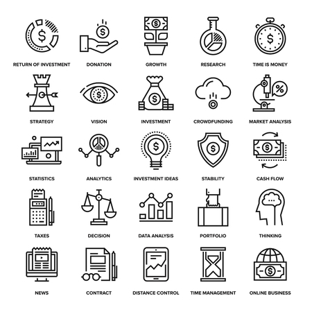 Ilustración de Abstract vector collection of line analytics and investment icons. Elements for mobile and web applications. - Imagen libre de derechos