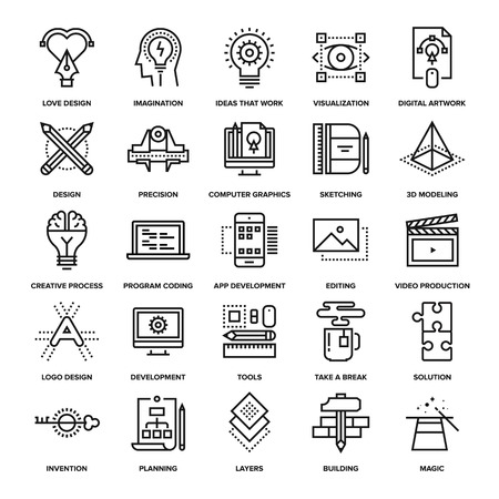 Illustration pour Abstract vector collection of line creative process icons. Elements for mobile and web applications. - image libre de droit