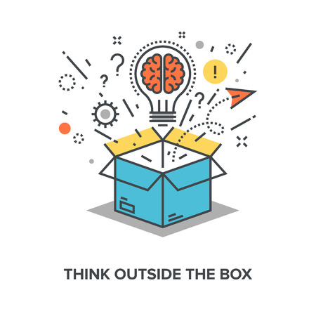 Illustration pour Vector illustration of think outside the box flat line design concept. - image libre de droit