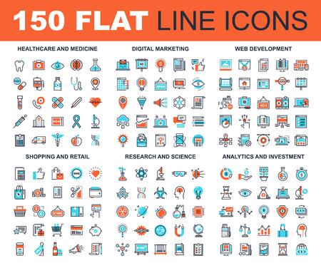 Foto de Vector set of 150 flat line web icons on following themes - healthcare and medicine, digital marketing, web development, shopping and retail, research and science, analytics and investment - Imagen libre de derechos