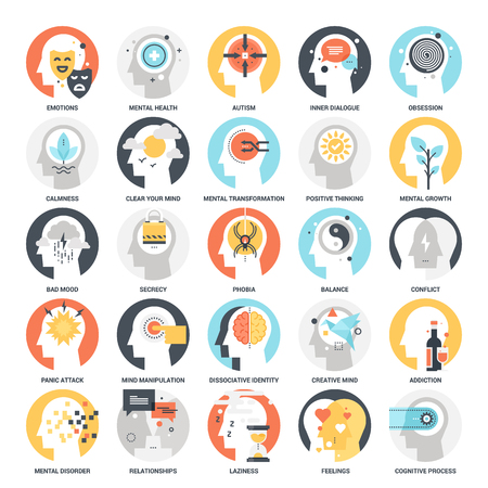 Illustrazione per Human Psychology Icons - Immagini Royalty Free